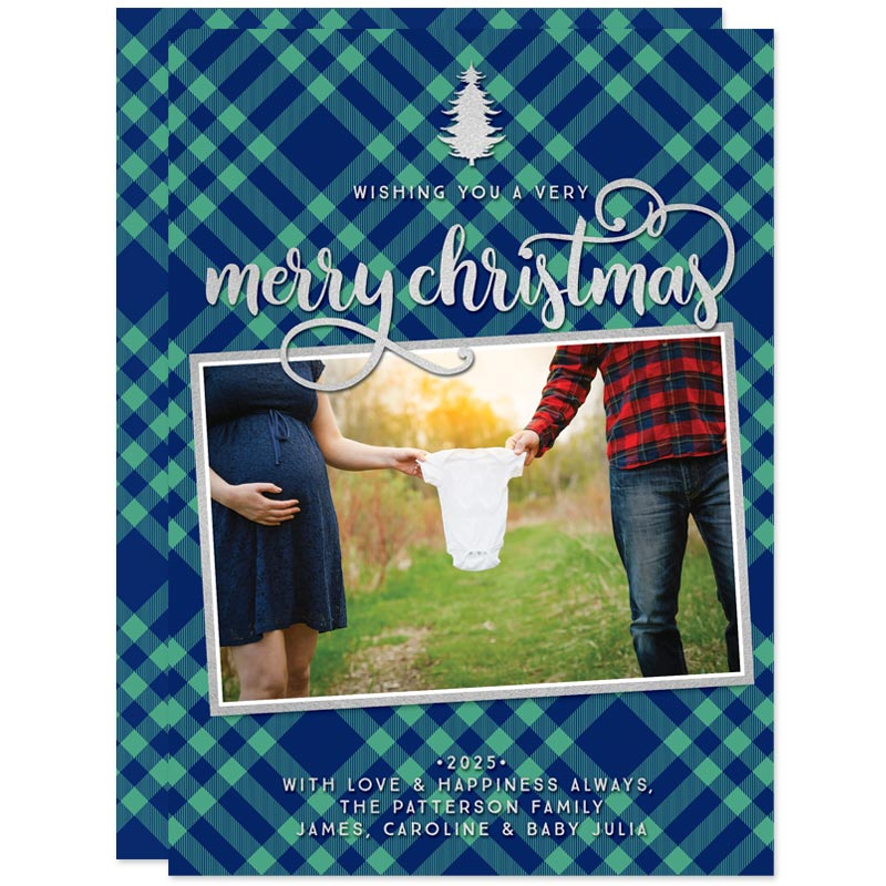 Blue & Green Plaid Holiday Photo Cards by The Spotted Olive