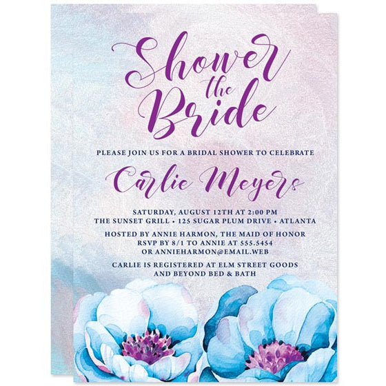 Bridal Shower Invitations - Blue & Purple Flowers