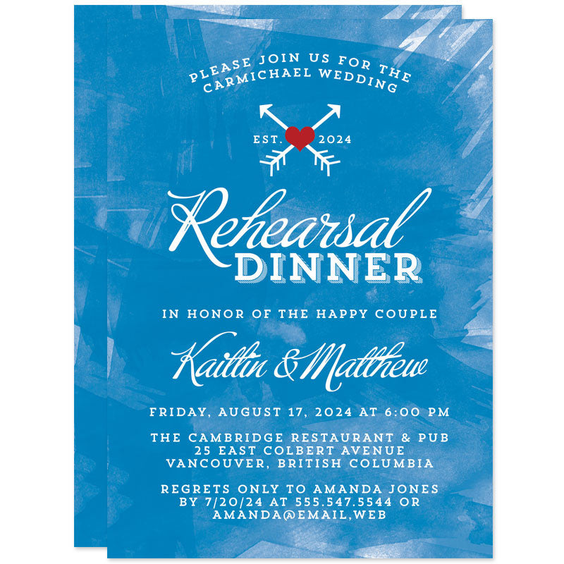 Blue Brushstrokes Rehearsal Dinner Invitations by The Spotted Olive