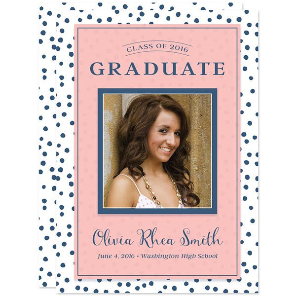 Blue Polka Dots with Pink Graduation Announcements by The Spotted Olive