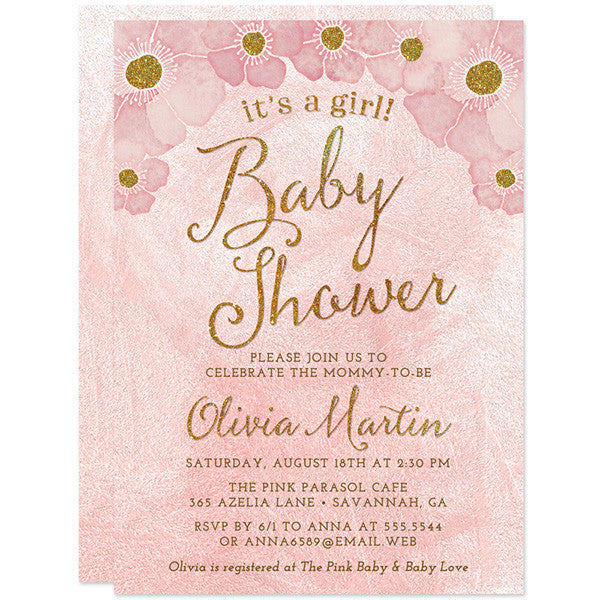 Baby Shower Invitations - Blush Pink & Gold It's A Girl - The Spotted Olive
