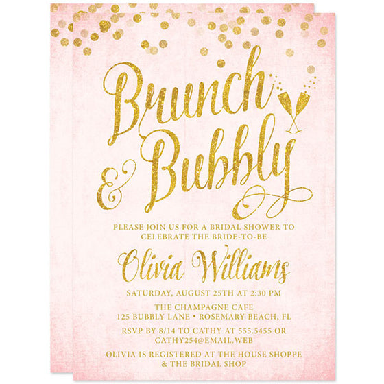 Blush Pink & Gold Glitter Brunch & Bubbly Bridal Shower Invitations by The Spotted Olive