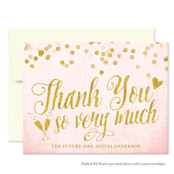 Blush Pink & Gold Confetti Folded Thank You Cards by The Spotted Olive - Cream Envelopes