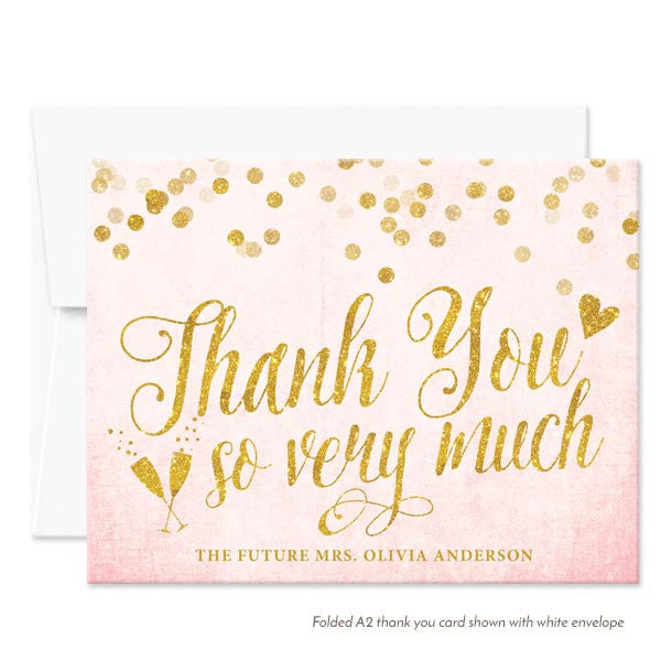 Blush Pink & Gold Confetti Folded Thank You Cards by The Spotted Olive - White Envelopes