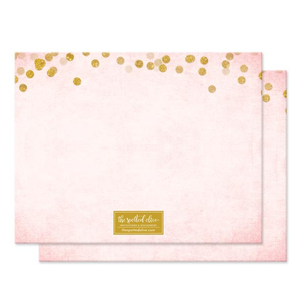 Blush Pink & Gold Confetti Personalized Note Cards by The Spotted Olive - Back