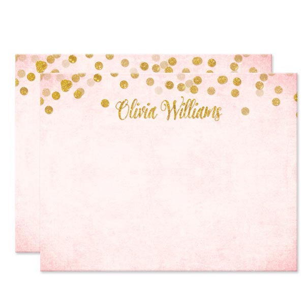 Blush Pink & Gold Confetti Personalized Note Cards by The Spotted Olive - Front
