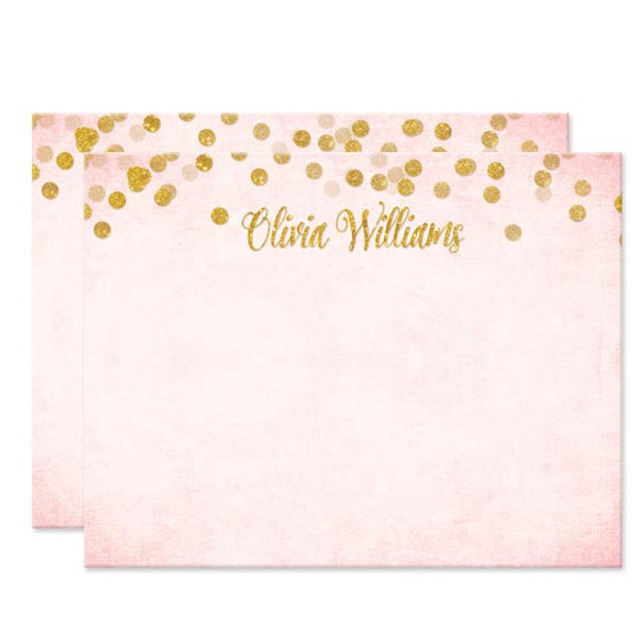 Blush Pink & Gold Confetti Personalized Note Cards by The Spotted Olive