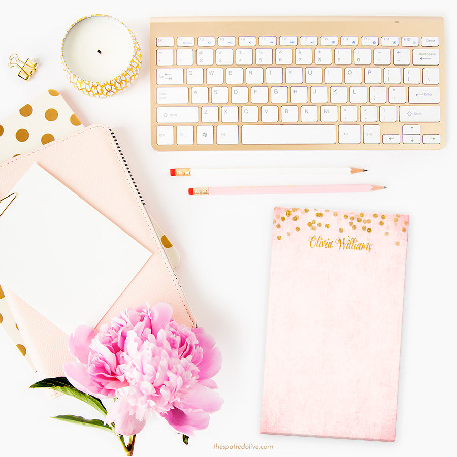 Blush Pink & Gold Confetti Personalized Notepads by The Spotted Olive - Scene