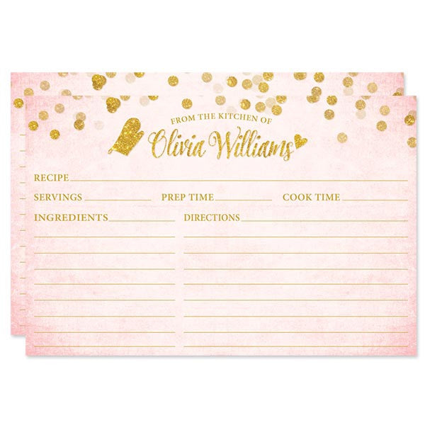Blush Pink & Gold Confetti Personalized Recipe Cards by The Spotted Olive