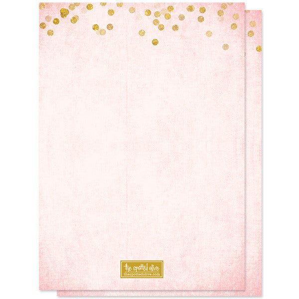 Blush Pink & Gold Confetti Sweet 16 Party Invitations by The Spotted Olive back