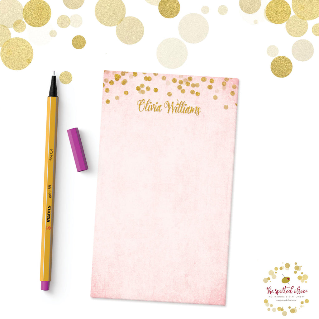 Blush Pink & Gold Confetti Personalized Notepads by The Spotted Olive - Branded