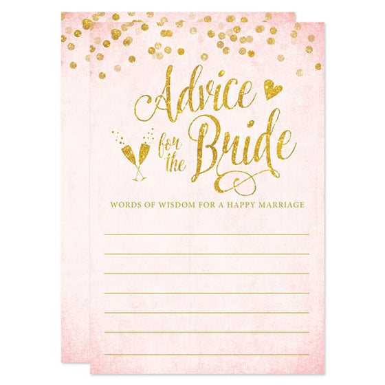 Blush Pink & Gold Confetti Advice for the Bride Cards