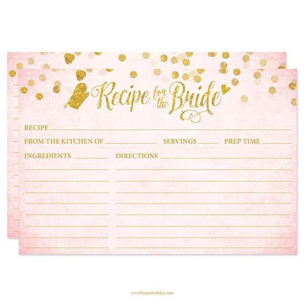 Blush Pink & Gold Confetti Recipe for The Bride Cards by The Spotted Olive