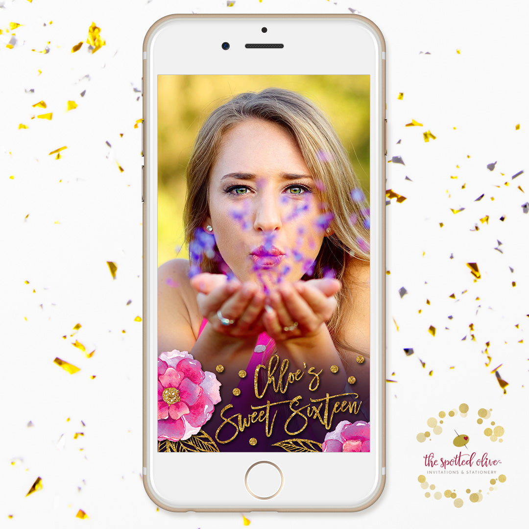 Bohemian Violet Flowers Personalized Snapchat Geofilter by The Spotted Olive