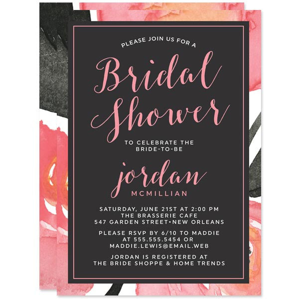 Bold Floral Bridal Shower Invitations by The Spotted Olive