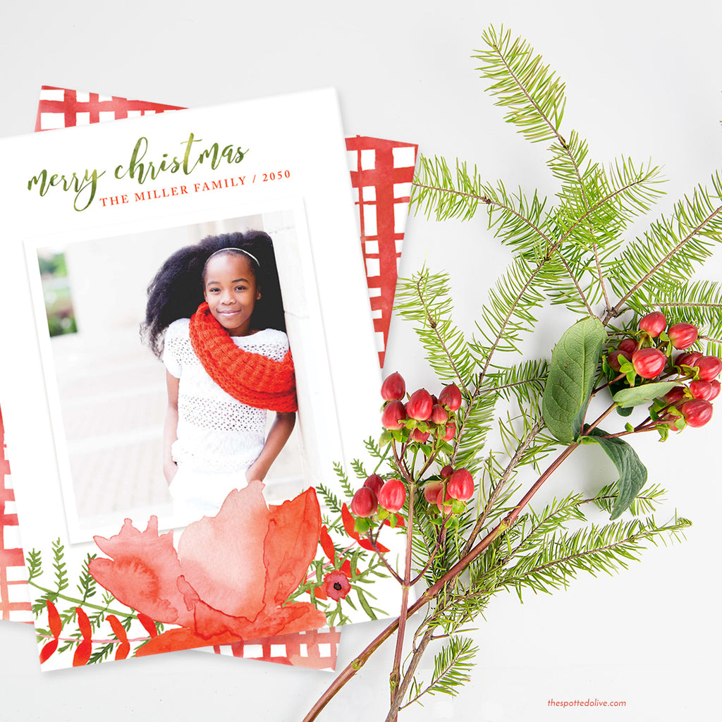 Bold Floral Holiday Photo Cards by The Spotted Olive - Scene