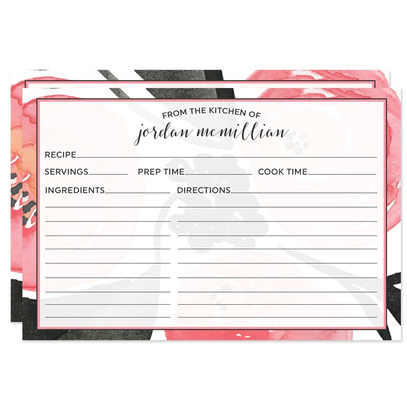 Personalized Recipe Cards Bold Floral