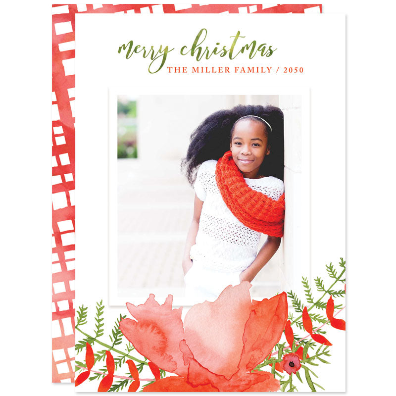 Bold Floral Holiday Photo Cards by The Spotted Olive