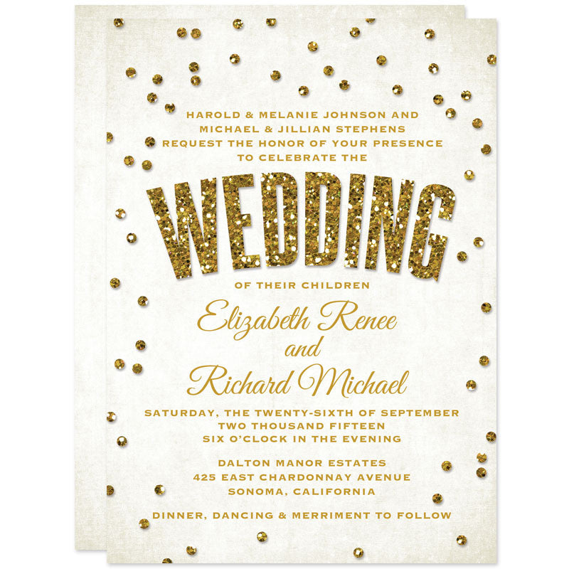 Bold Gold Glitter Look Confetti Wedding Invitations