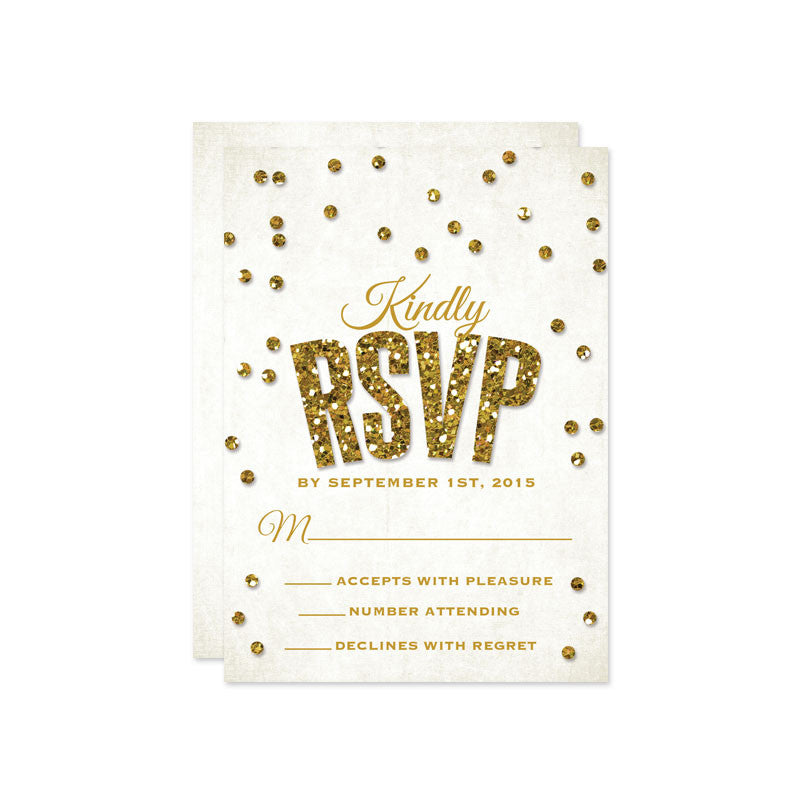 Bold Gold Glitter Confetti Wedding RSVP Cards