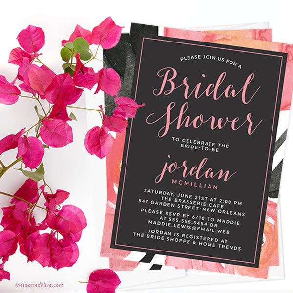 Bold Watercolor Floral Bridal Shower Invitations The Spotted Olive