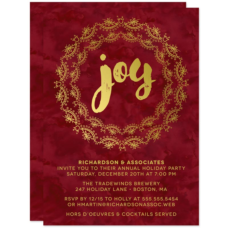 Burgundy & Gold Joy Holiday Party Invitations by The Spotted Olive