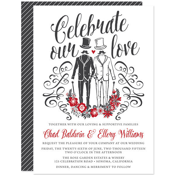 Celebrate Our Love Gentlemen's Gay Wedding Invitations by The Spotted Olive