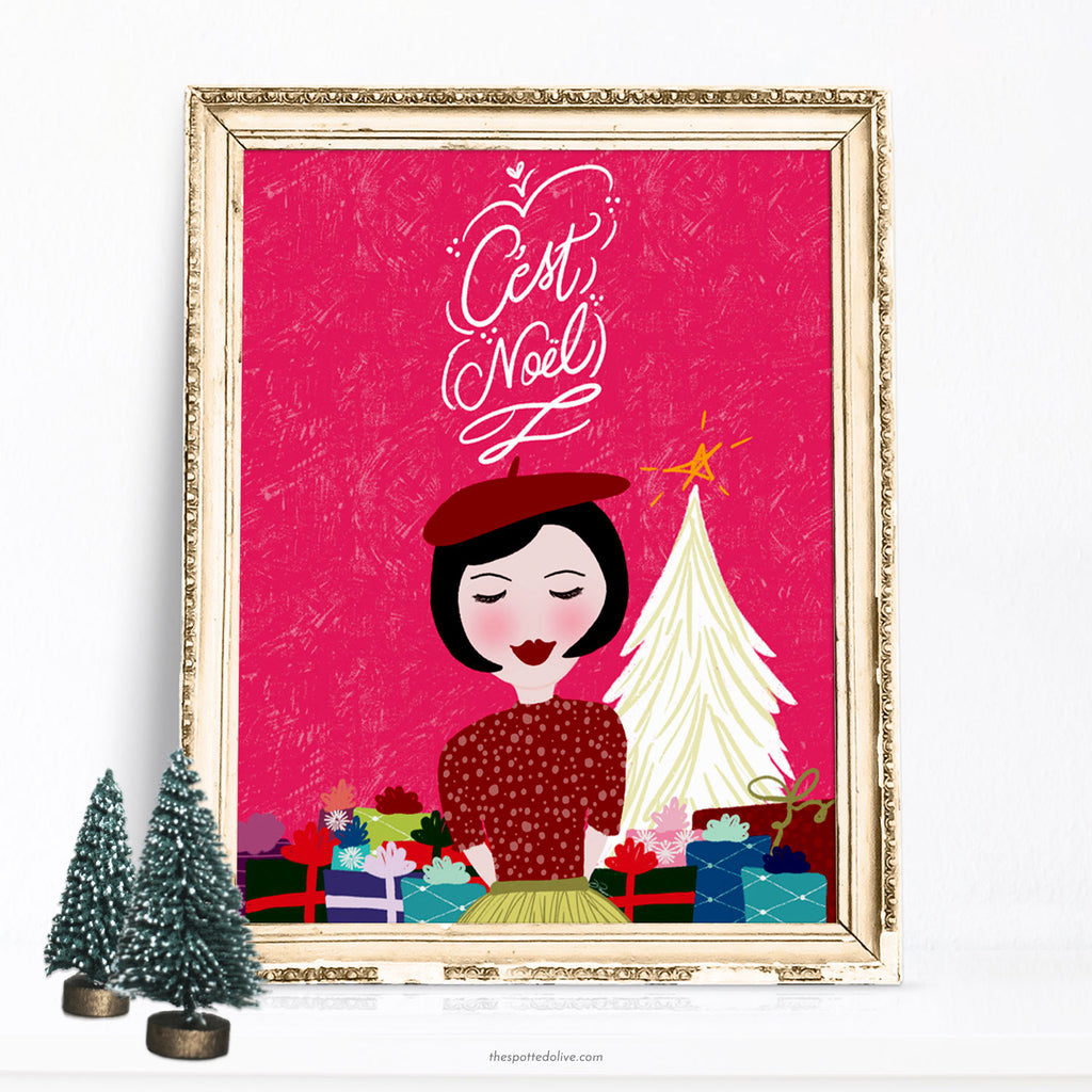 Printable Art Download - C'est Noel Holiday Illustration