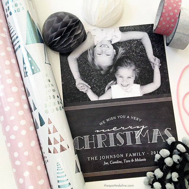 Chalkboard Merry Christmas Holiday Photo Cards by The Spotted Olive - Scene