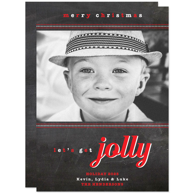 Chalkboard Let's Get Jolly Christmas Photo Cards by The Spotted Olive