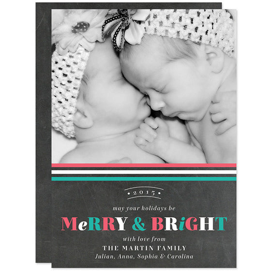 Chalkboard Merry & Bright Christmas Holiday Photo Cards by The Spotted Olive