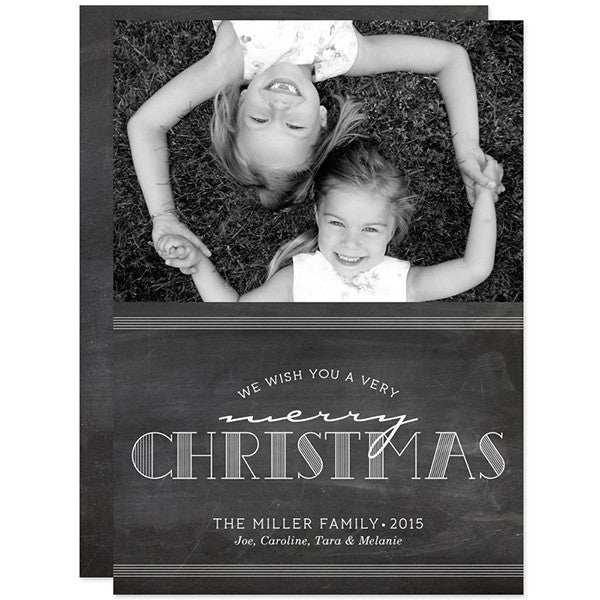 Chalkboard Merry Christmas Holiday Photo Cards by The Spotted Olive