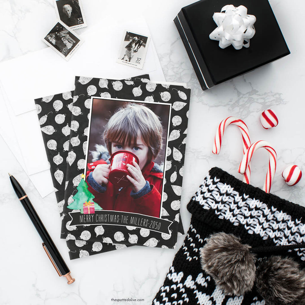 Chalkboard Ornaments Holiday Photo Cards by The Spotted Olive - Scene