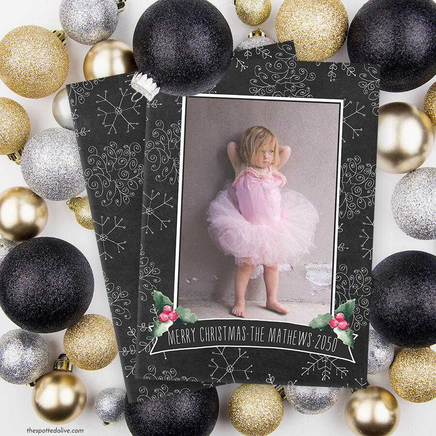 Chalkbaord Snowflakes Holiday Photo Cards by The Spotted Olive - Scene