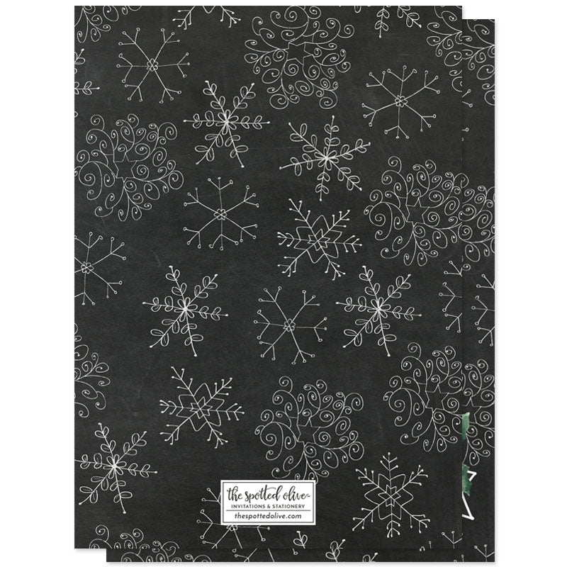 Chalkbaord Snowflakes Holiday Photo Cards by The Spotted Olive - Back