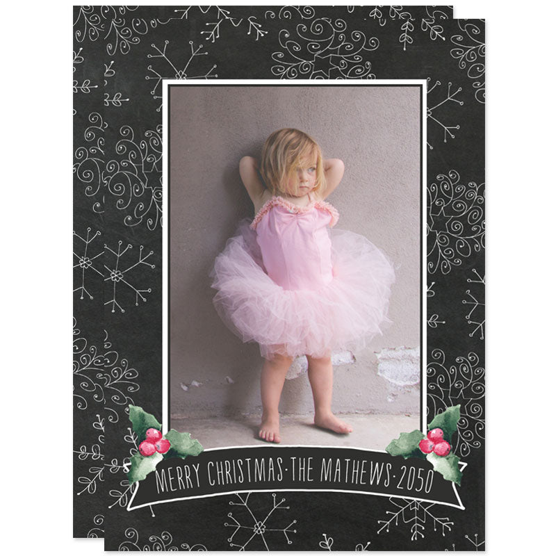 Chalkbaord Snowflakes Holiday Photo Cards by The Spotted Olive