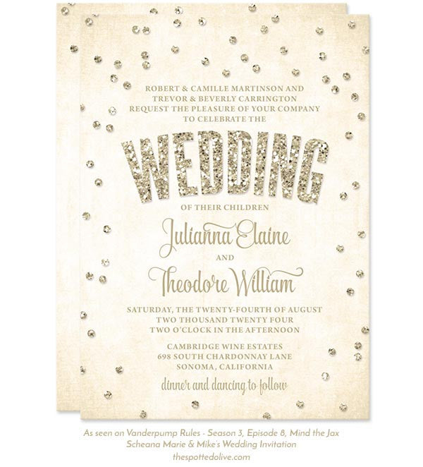 Champagne Confetti Wedding Invitations by The Spotted Olive - As seen on Vanderpump Rules