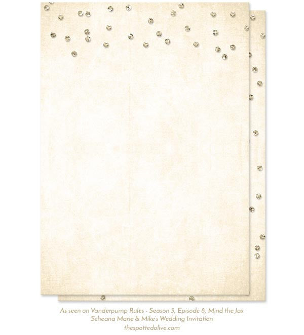 Champagne Confetti Wedding Invitations by The Spotted Olive - As seen on Vanderpump Rules - Back