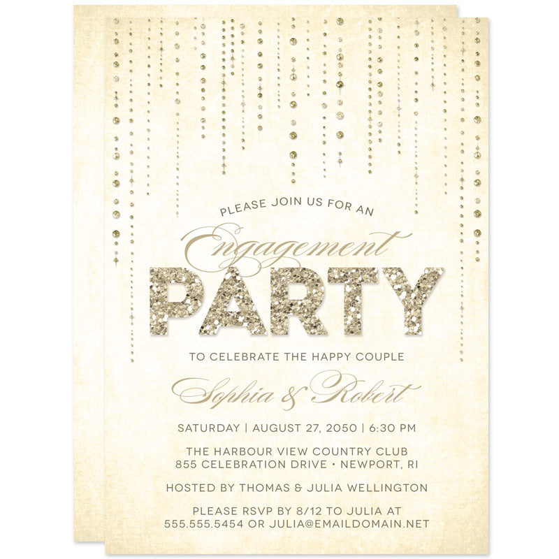 Champagne Gold Streaming Gems Engagement Party Invitations by The Spotted Olive