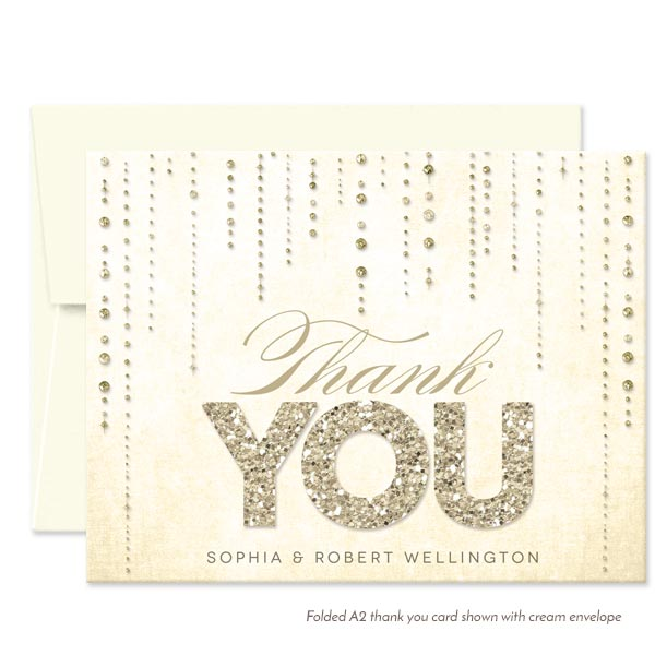 Champagne Gold Streaming Gems Personalized Thank You Cards by The Spotted Olive - Cream Envelopes