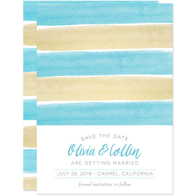 Charming Seaside Stripes Save The Date Cards