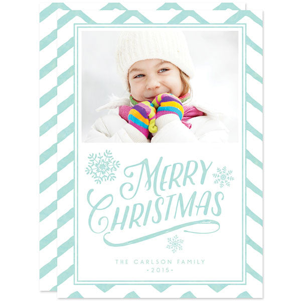Chevron Christmas Wishes Holiday Photo Cards by The Spotted Olive