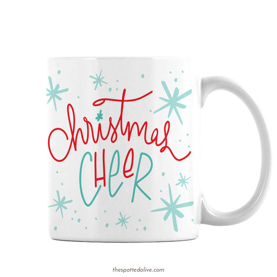Hand Lettered Christmas Cheer Coffee Mug by The Spotted Olive - Right