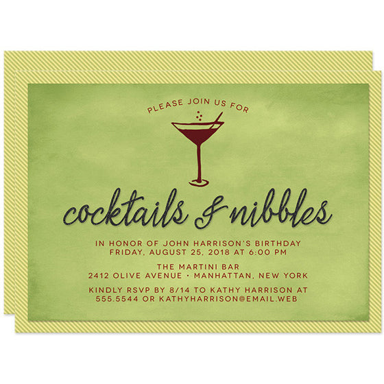 Birthday Party Invitations - Cocktails & Nibbles