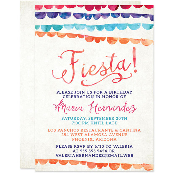 Colorful Banners Fiesta Birthday Party Invitations