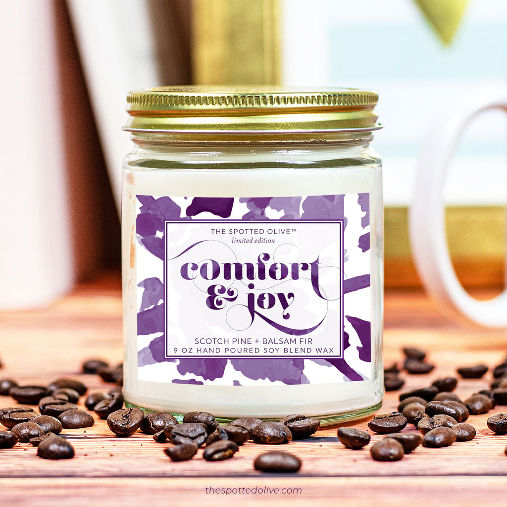 Comfort & Joy Candle by The Spotted Olive - Scotch Pine + Balsam Fir