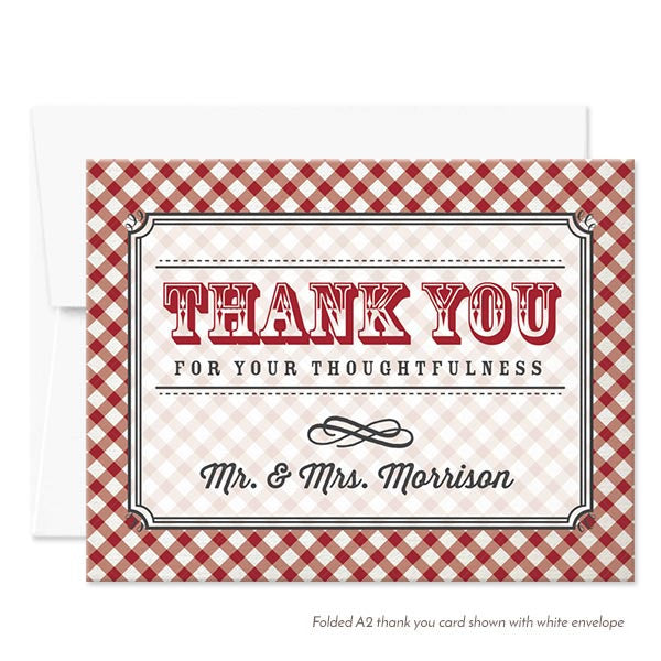 personalized thank you cards country gingham the spotted olive