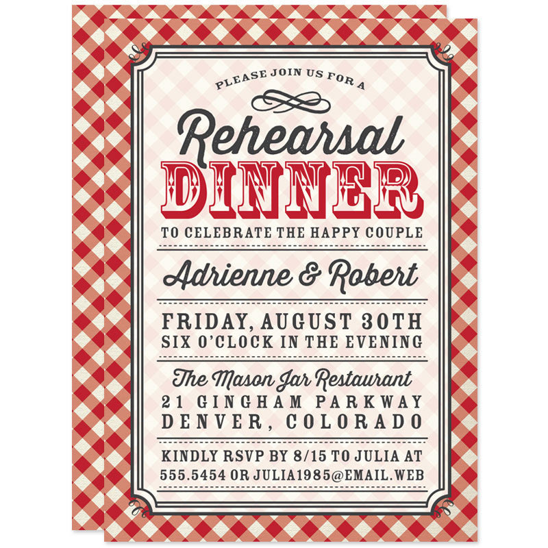 Country Gingham Rehearsal Dinner Invitations by The Spotted Olive