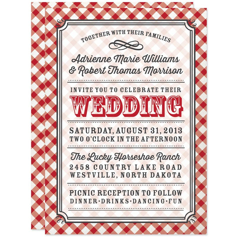 Country Gingham Wedding Invitations by The Spotted Olive