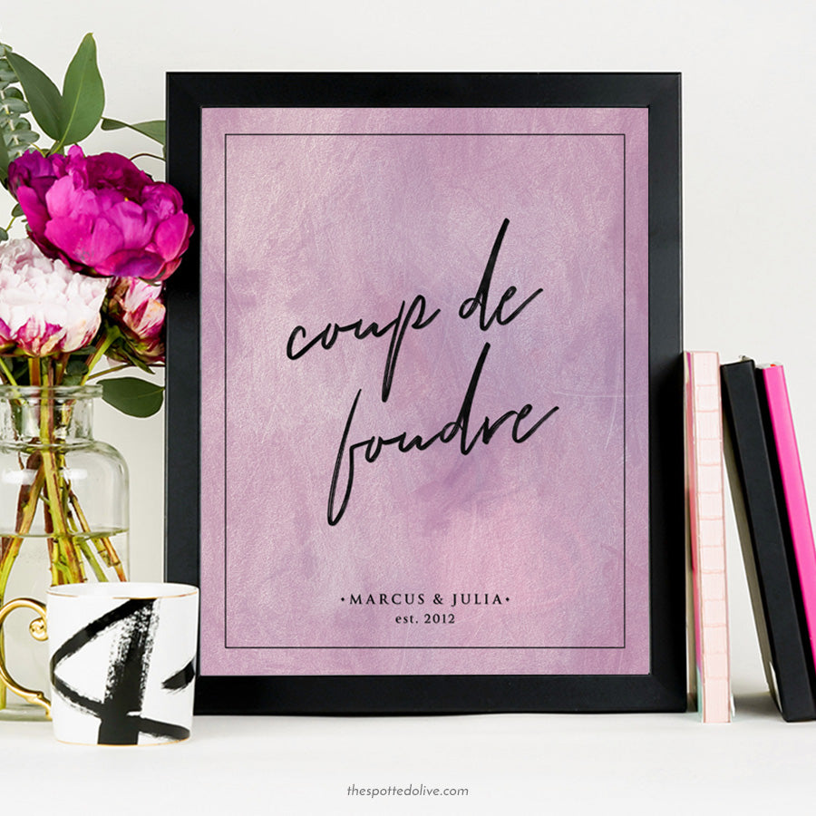Coupe de foudre personalized art print by The Spotted Olive - Scene